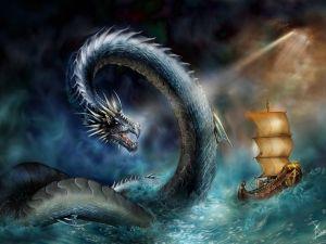 Dragon attacking at sea