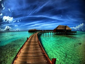 Contrast of a blue sky and green waters