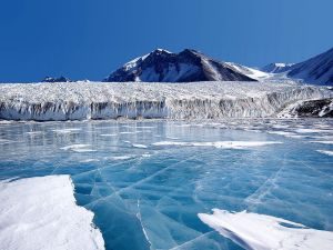 Blue ice covering Lake Fryxell (Antarctica)
