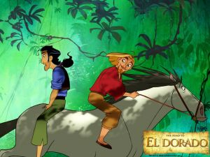 """Mounted in a horse in """"The Road to El Dorado"""""""