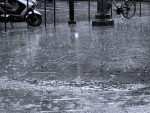 A rain-soaked street