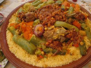 Couscous with vegetables, chickpeas and meat