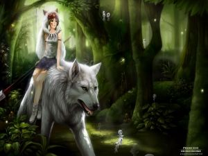 The Princess Mononoke on a white wolf
