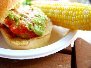 Corn cob and hamburger