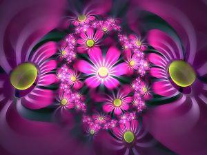 3D purple daisies