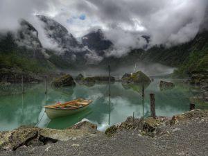 View of the Bondhus Lake in Norway