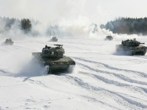 Leopard tank in the snow