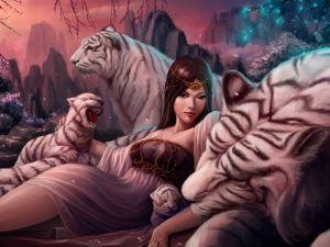 Princess between tigers