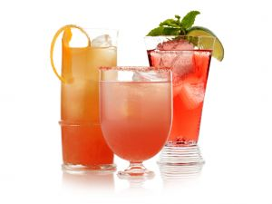 Reddish colored cocktails