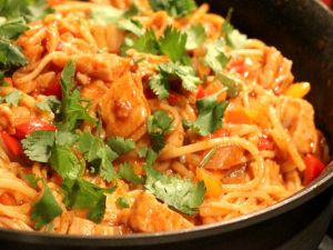 Pasta dish with hot sauce and parsley