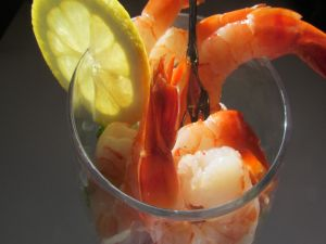 Glass with prawns