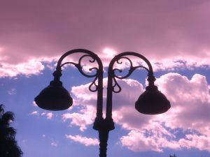 Clouds behind a lamppost