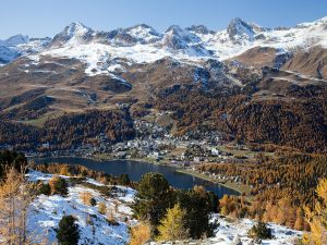 View of St. Moritz and its lake, Graubünden (Switzerland)