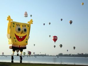Hot air balloon with the shape of Sponge Bob