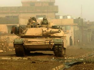 M1 Abrams tank on a street in Iraq