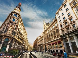 The Gran Via in Madrid (Spain)
