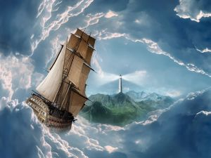 Ship in a sea of ​​clouds