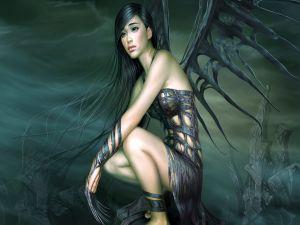Woman-raven sad