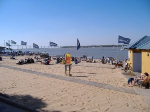 The public beach on the river Parana, Rosario, Argentina