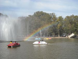 Pedal boats on lake of the Independence Park (Rosario, Santa Fe, Argentina)