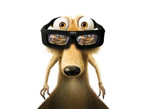 "Squirrel of ""Ice Age"" with 3D glasses"