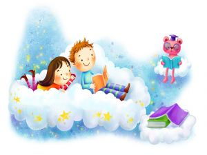 Children reading in the clouds