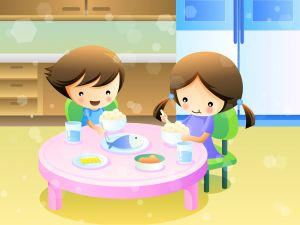 Children eating rice and fish