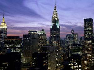 Lights in the buildings of the city of New York
