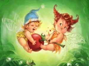 Fairy babies fighting for a cherry