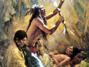 """Oil painting """"The shamans"""""""