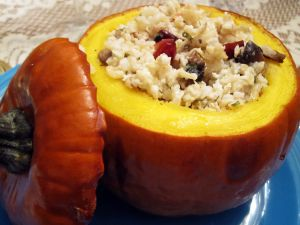 Roasted pumpkin stuffed with rice