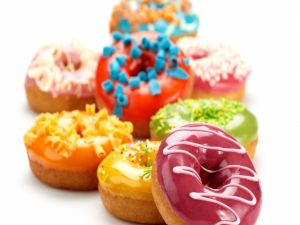 Brightly colored donuts