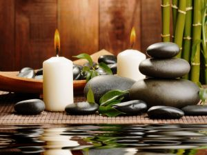 Relax with stones and candles