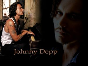 Johnny Depp playing the piano