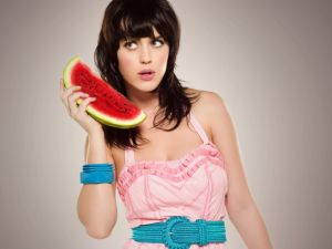 Katy Perry with a watermelon slice