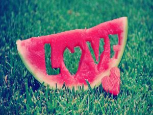 Love message on a slice of watermelon