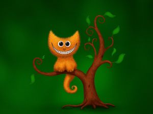 Cat smiling on a tree