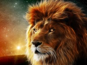 A 3D lion with the firmament in background