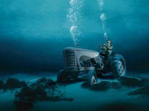 A farmer in the ocean