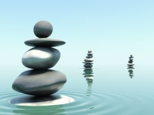 Stones in balance over the water