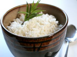 Boiled white rice and served in a nice bowl