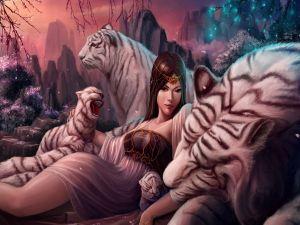 Girl among tigers