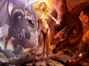 Sorceress with her dragons