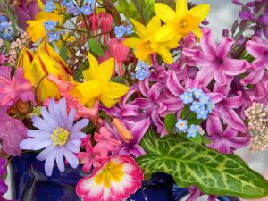 Vase with many varied flowers