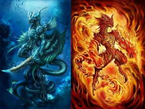 Water dragon and Fire dragon