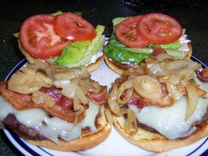 Homemade burgers with onion