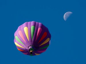 Hot air balloon and the moon