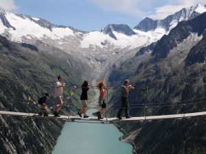 The Drahtsteg suspension bridge, in the Zillertal Alps, Austria