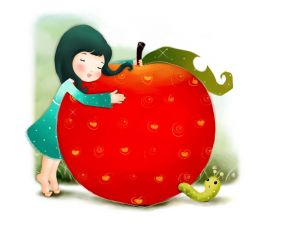 Girl hugging an apple