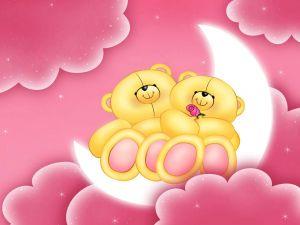 Teddy bears sitting on the moon
